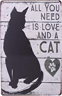 Sumik All You Need is Love and a Cat, Metal Tin Sign, Vintage Art Poster Plaque Home Wall Decor