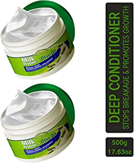 Milk Protein & Olive Oil Hair Deep Conditioning Treatment Hair Mask Strengthens, Repairs, Stops Breakage and Promotes Growth for Soft, Healthy, Manageable Hair - Sofn'Free GroHealthy - Pack of 2