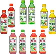 OKF Farmer's Aloe Vera Drink Flavored Variety Pack - Original, Pomegranate, Pineapple, Strawberry, Watermelon Flavored Aloe Drinks (16.9oz/500ml Bottles 10 Count)