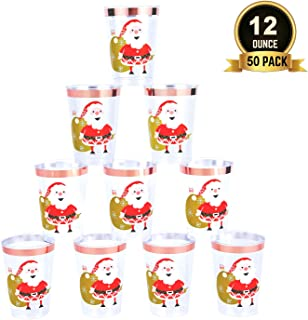TOROTON 50 Copas de Plástico, 350ml Tazas para Bebida Transparente Reutilizables, para Navidad, Fiesta Infantil, Cumpleaños, Fiesta - Papá Noel