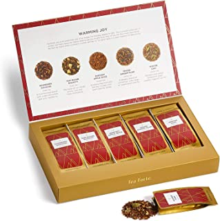 Tea Forte Single Steeps Loose Leaf Tea Sampler, Assorted Variety Tea Box, 15 Single Serve Pouches (Warming Joy - Red/Gold)