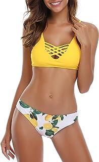 comprar comparacion SHEKINI Mujer Conjunto de Bikini de Dos Piezas Almohadillas Bañador Estampar Trajes de Baña