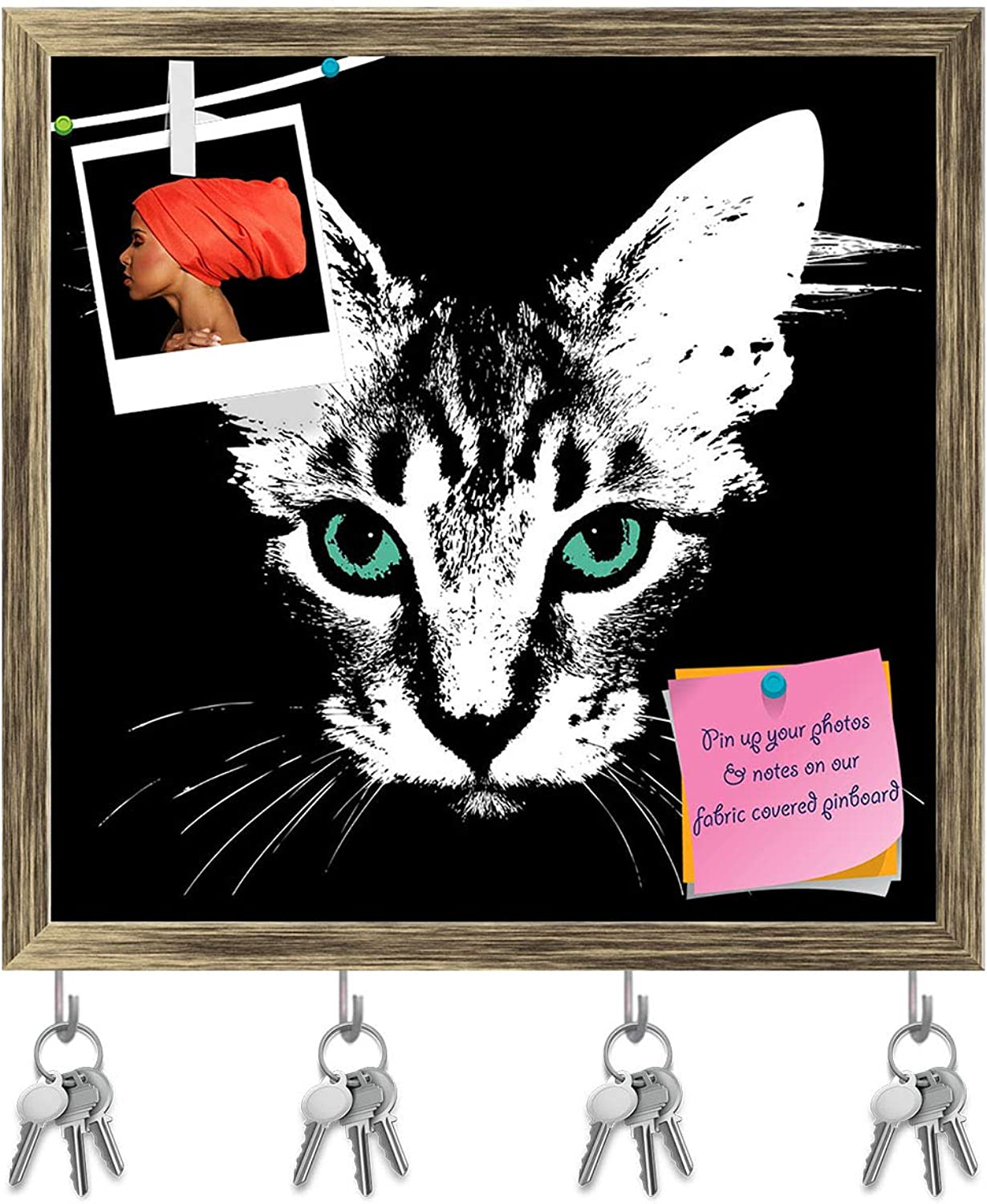Artzfolio Head of A Cat with Green Eyes Key Holder Hooks   Notice Pin Board   Antique golden Frame 16.4 X 16Inch