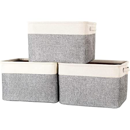 """AUGSMIAR Fabric Storage Basket Bins, 14.5 × 10.5 × 9"""", Sturdy Bottom, Linen & TC Fabric - Books, Toys, Baby Product, Paper Towels, Clothes, Sundries Container (3 Pack, Gray & Ivory)"""