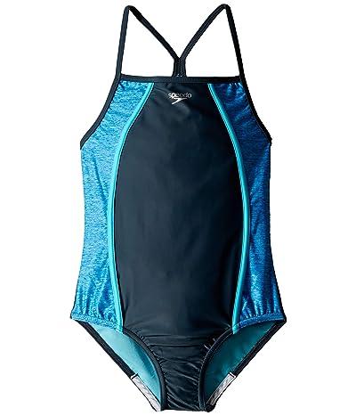 Speedo Kids Heather Splice One-Piece Swimsuit (Big Kids) (Asphalt) Girl