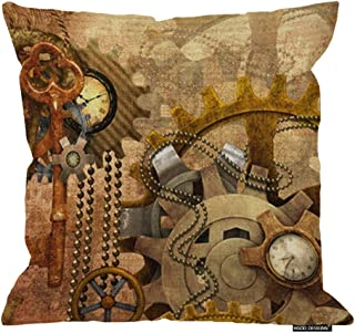 HGOD DESIGNS Pillow Case Steampunk Cotton Linen Throw Pillow Cover Square 18 X 18 Inches