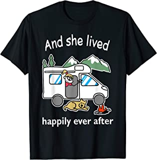 And She Lived Happily Ever After camping For Dog Lover T-Shirt