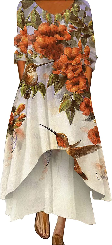 Women Floral Colorful Print Maxi Dress Plus Size Hem Irregular Summer Ankle Long Dresses