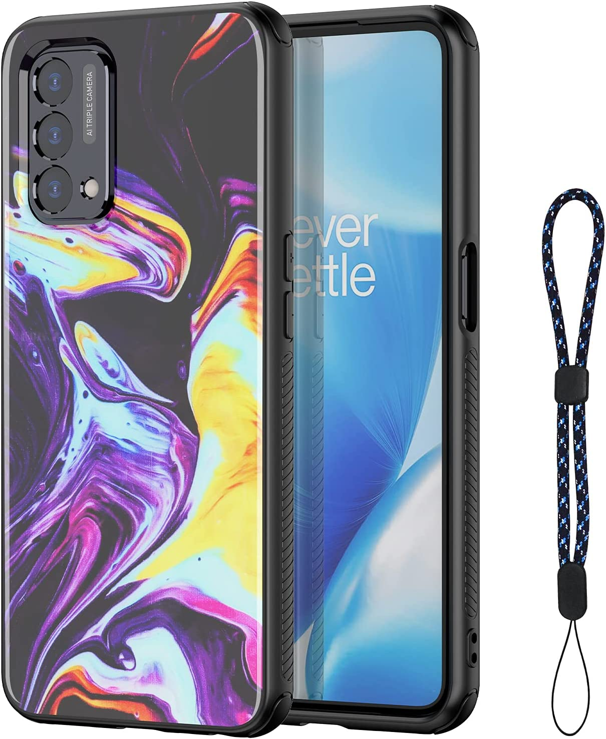 MAKAVO for OnePlus Nord N200 5G Case, Soft Silicone Bumper + Slim Fit Hard Back Shockproof Aesthetic Protective Phone Cover with Wrist Strap for Women Girls (Purple)