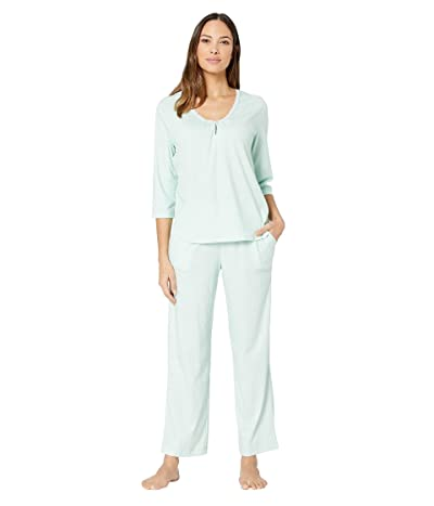 Karen Neuburger Marie Antoinette 3/4 Sleeve Henley Long PJ (Diamond Mint) Women