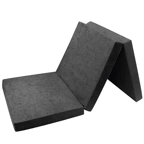 Fortisline Matelas d'appoint Pliant lit d'appoint lit d'invité futon Pouf 195x80x9 cm Couleur Gris