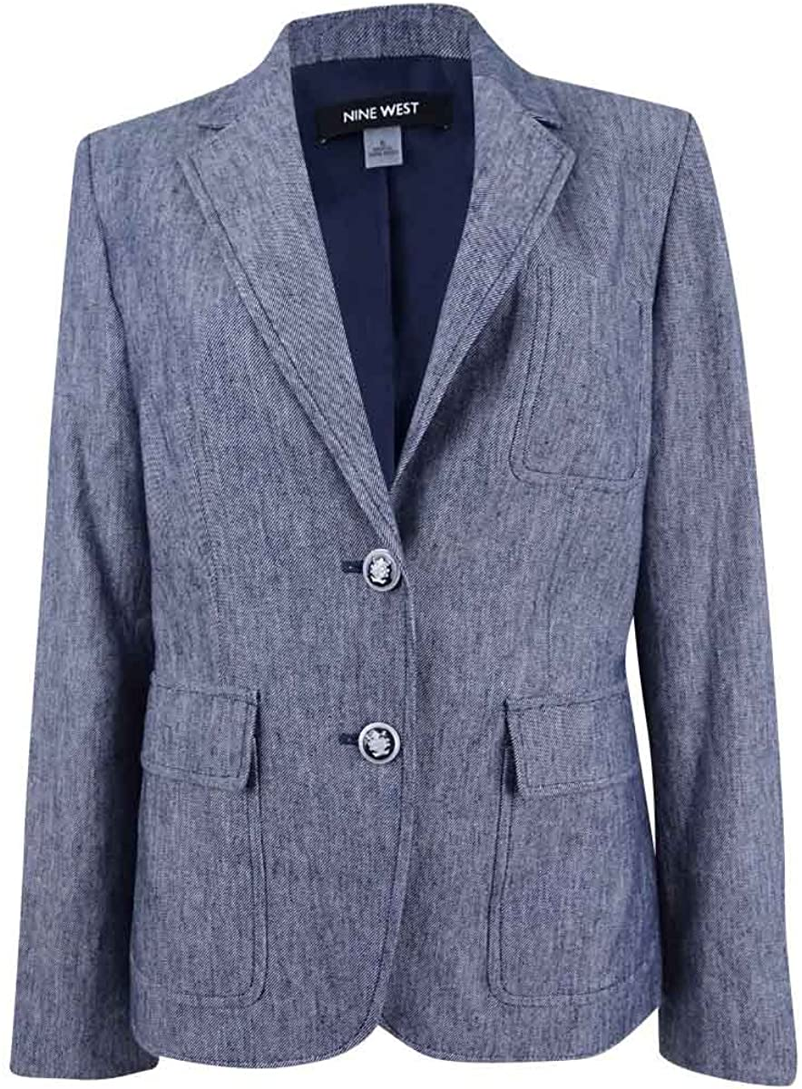 NINE WEST 4 years warranty Women's Courier shipping free 2 Button Pockets with Jacket Linen