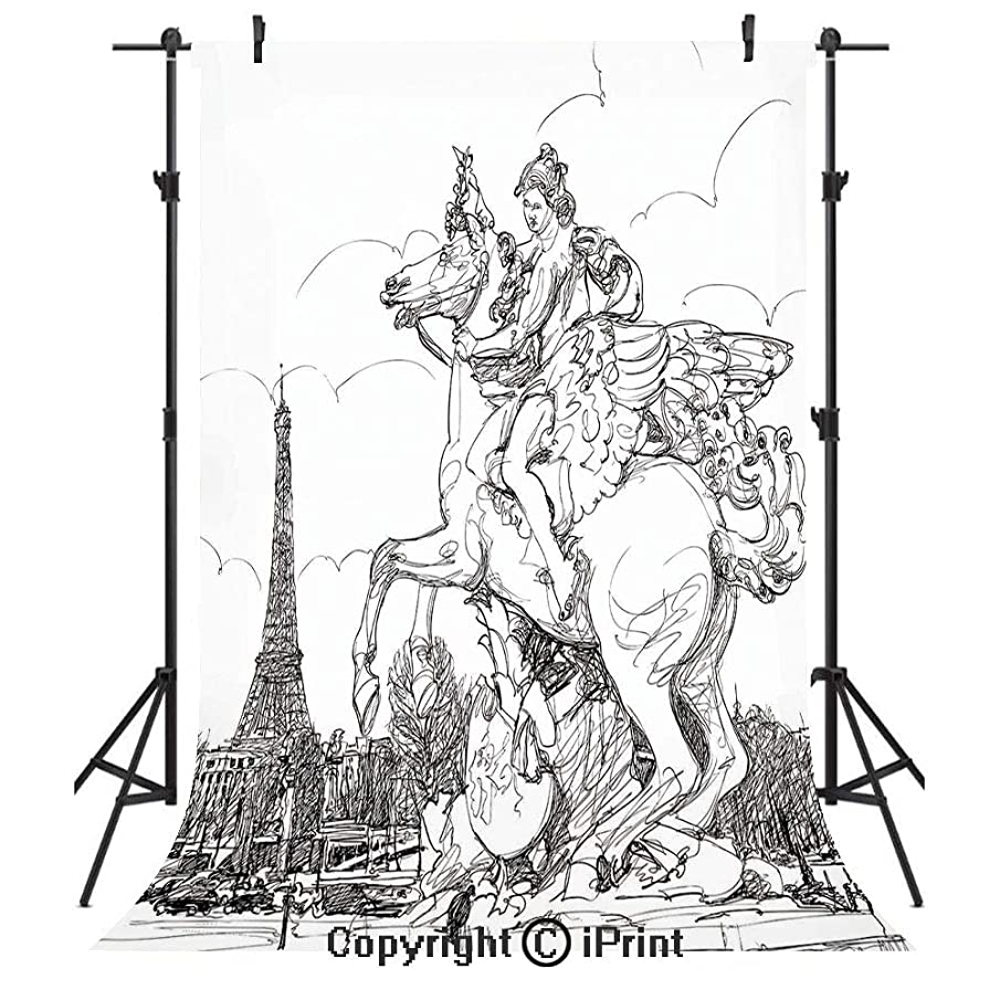 Antique Decor Photography Backdrops,European Cityscape France Historical Sculpture Rearing Horse Eiffel Tower,Birthday Party Seamless Photo Studio Booth Background Banner 10x20ft,Black White