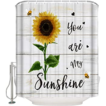 Extra Long 72 X 72 Inch FAMILYDECOR Sunflower Bathroom Shower Curtains You are My Sunshine Retro Style Kraft Paper Letter Polyester Fabric Bath Curtain Waterproof Bathroom Curtain Set with Hooks