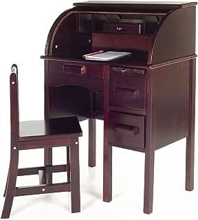 Guidecraft Jr. Roll-Top Study Desk and Chair Set Espresso - Dark Cherry Storage Shelf, Kids Furniture