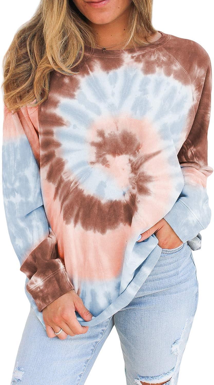 Actloe Women Tie Dye Sweatshirt Casual Top Long Sleeve Ombre Printed Shirts Color Block Pullovers