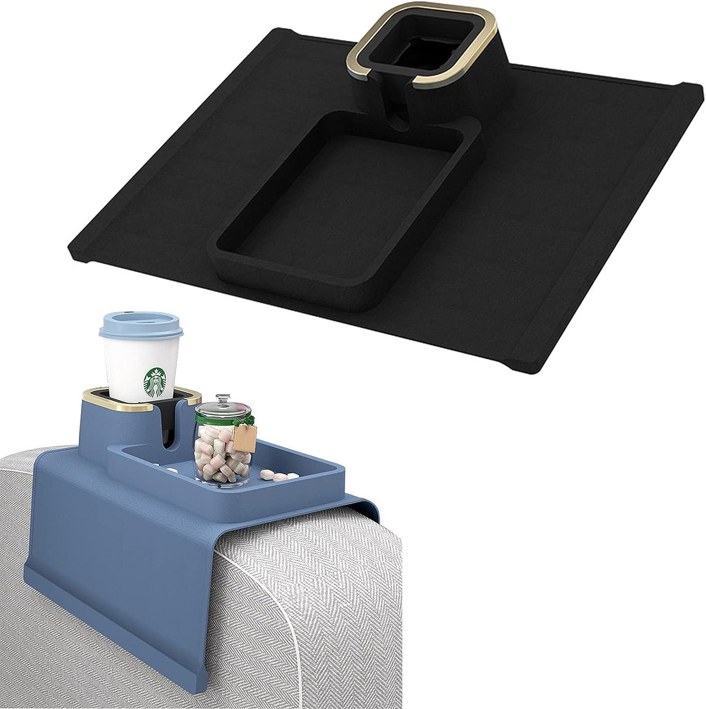 Posavasos para sofá, soporte de silicona y bandeja para sofá, reposabrazos, soporte de taza antideslizante, funda de ajuste incluida, ideal para uso en interiores o exteriores (color negro)