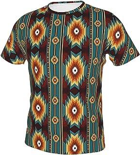 MayBlosom Camisa estampada en 3D para hombre con ajuste regular y gráfico de verano, étnico Navajo nativo americano del su...