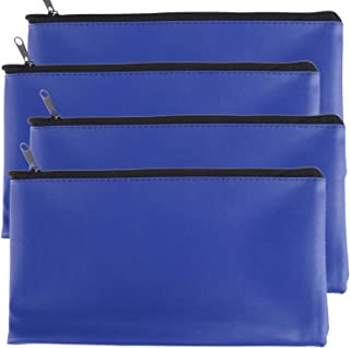 Tongnian Bank Bag Money Pouch Leatherette Security Deposit Bags Utility Zipper Bags for Cash Money,Check Wallet,Cosmetics,Tools,11x6 inch 4 Pack (Blue)