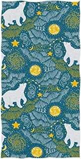 REFFW Soft Large Multipurpose Guest Bath Towels Hand Decorative Highly Absorbent Large for Home Bathroom Hotel Gym Spa Polar Bears Moon Stars Galaxy