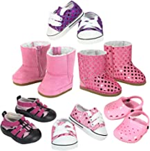 18 Inch Doll Shoe Pack in Pink & Purple Includes 2 Pair Sneakers, 2 Pair Boots and 2 Pair Garden Shoes
