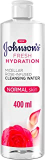 JOHNSON'S Micellar Water, Fresh Hydration, Rose-Infused Cleansing Water, 400ml