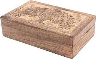 DharmaObjects Hand Carved Jewelry Trinket Keepsake Wooden Storage Box (Celtic Tree of Life, Large)