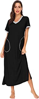 LOMON Women Sleepwear Nightshirt Short Sleeve Nightgown Full Length Sleep Dress