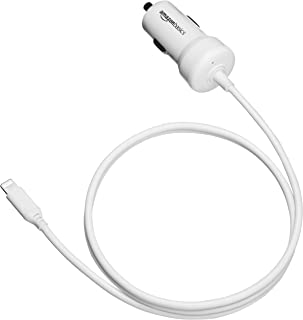 AmazonBasics Straight Cable Lightning Car Charger, 5V 12W, 3 Foot, White