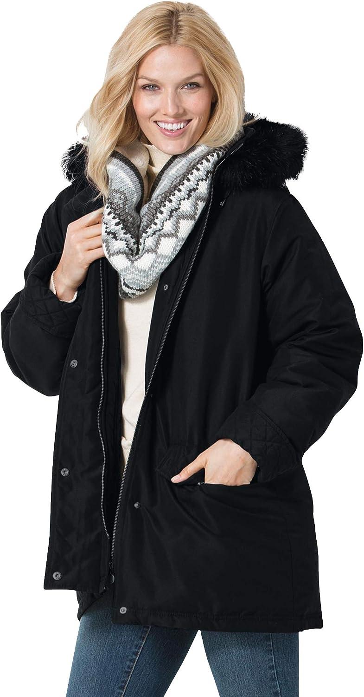 Woman Within Women's Plus Size Microfiber Down Parka Winter Coat