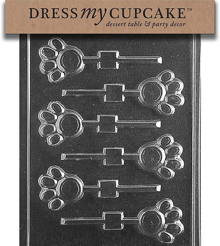 Dress My Cupcake Chocolate Candy Mold Paw Print Lollipop