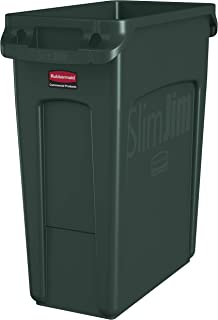 Rubbermaid Commercial Products Slim Jim Plastic Rectangular Trash/Garbage Can with Venting Channels, 16 Gallon, Green (1955960)