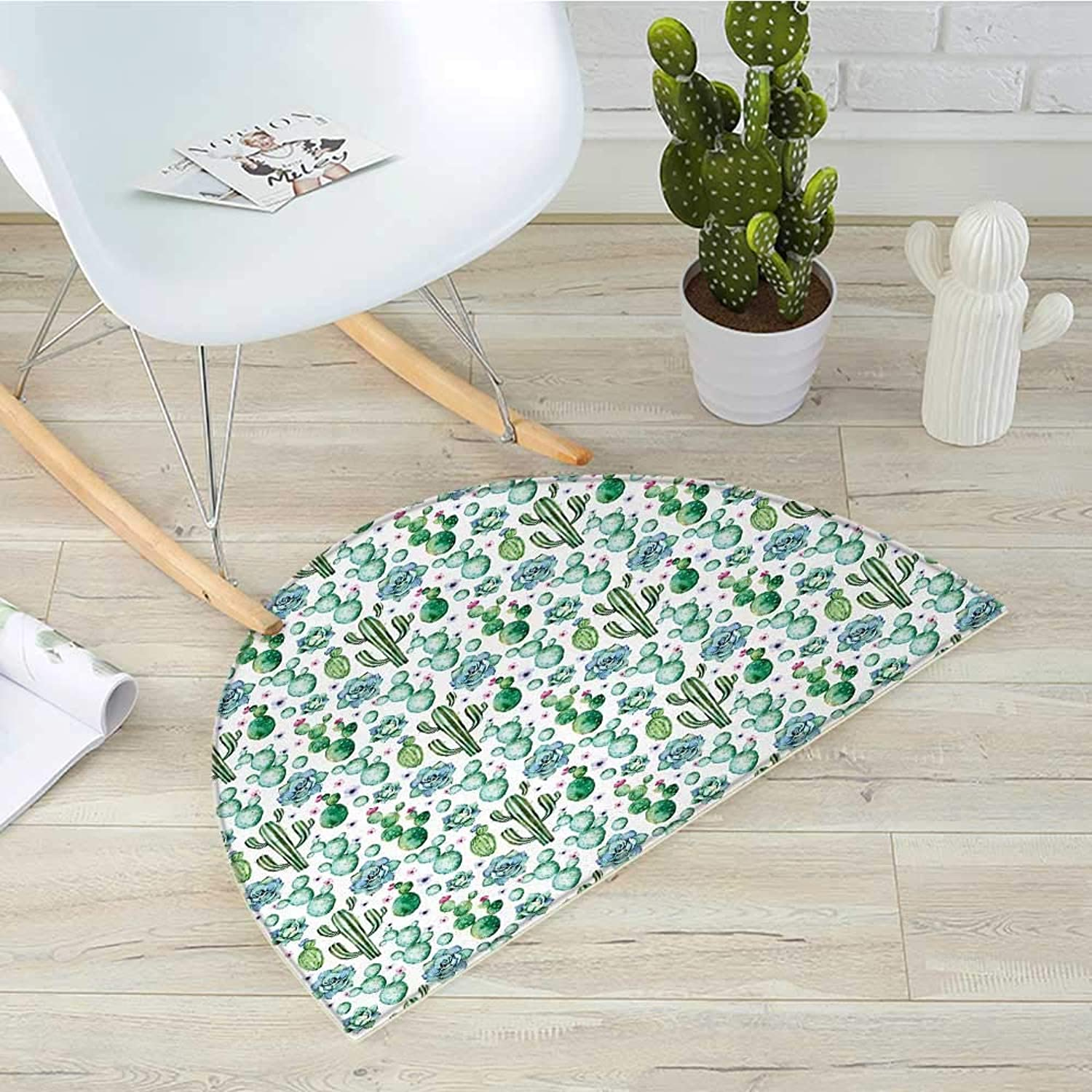 Cactus Semicircle Doormat Hand Painted Style Exotic Plant Collection Saguaro Prickly Pear Succulents Spikes Halfmoon doormats H 31.5  xD 47.2  Multicolor