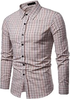 Mogogo Men's Button Down Silm Fit Long Sleeve Plaid Relaxed-Fit Shirts
