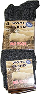3 PAIRS OF MENS THICK CHUNKY DARK COLOURED WOOL BLEND BIG FOOT SOCKS - UK SIZE 11-14