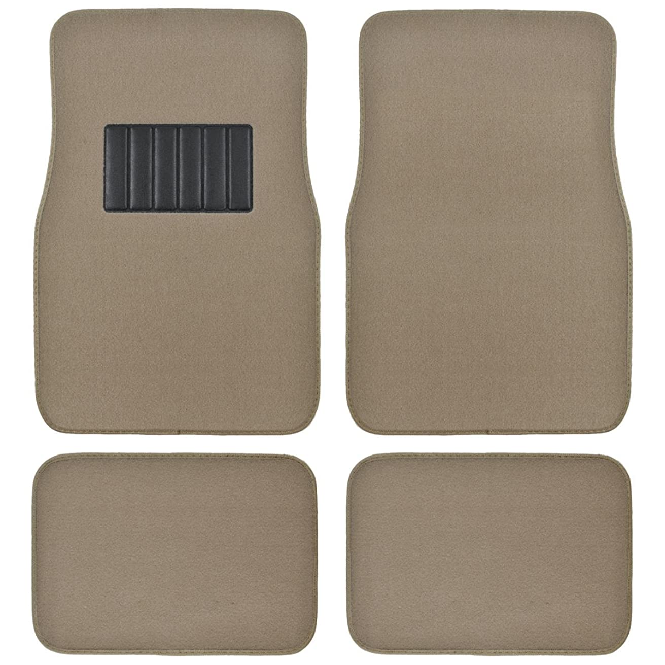 BDK Classic Carpet Floor Mats for Car & Auto - Universal Fit -Front & Rear with  Heelpad (Medium Beige)