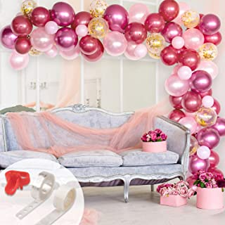 Whaline Balloon Arch & Garland Kit, Burgundy, Pink, Gold Confetti and Rose Metal Latex Balloons Set with 16ft Balloon Strip Tape, 1pcs Tying Tool and 100 Dot Glue for Wedding Birthday Party Decor