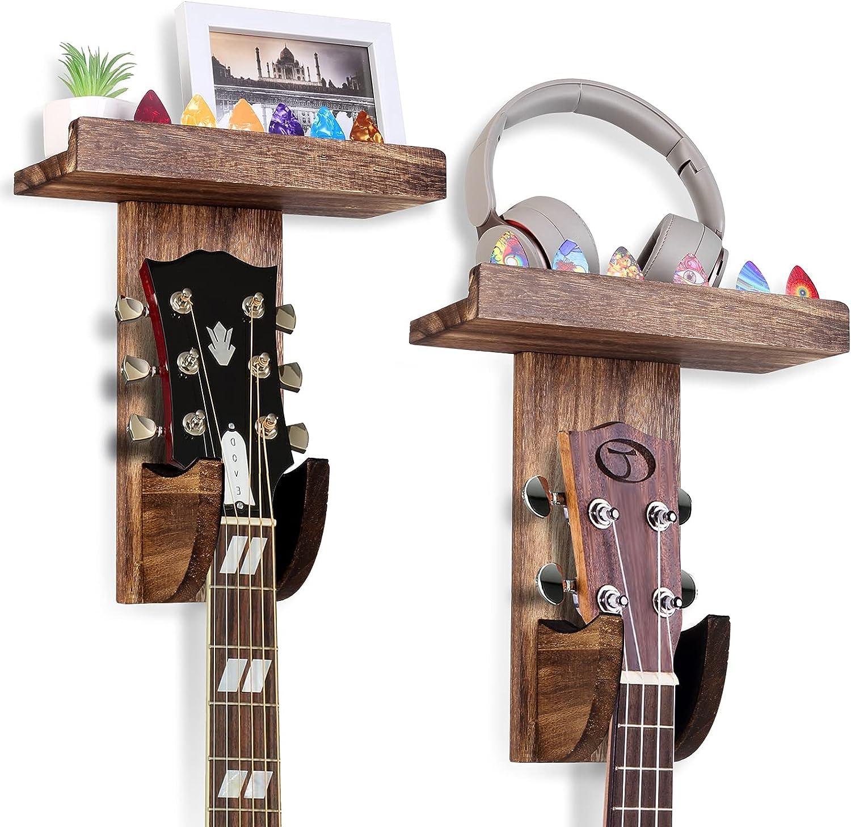 Guitar Wall Hanger, Guitar Wall Mount with Shelf, Guitar Hanger with Pick Holder, Wooden Hanging Guitar Holder for Acoustic Guitar,Ukulele,Bass,Mandolin,Violin 2 Pack (Brown)