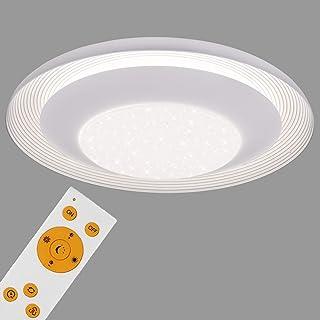 Briloner Leuchten LED con decoración de estrellas, lámpara de techo regulable, remoto, control de temperatura cromática, función de luz nocturna, 24W, blanca, Ø 49,5cm, Ø 49,5 cm
