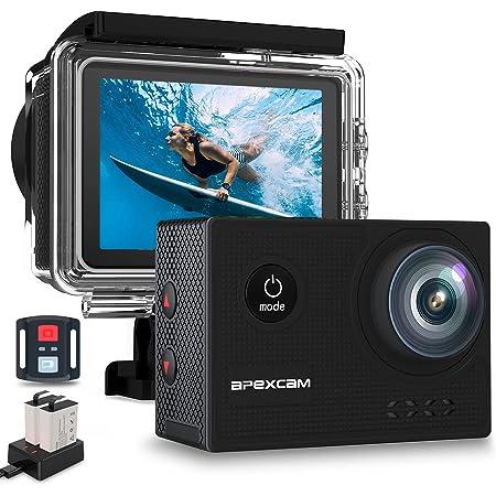 Apexcam 4K 60fps Caméra Sport WiFi 40M Action Camera sous-Marine Ultra HD 170 °Grand Angle 2.4G Télécommande 2 Batteries Rechargeables 1350mAh 2.0 '' Ecran LCD et Kit d'accessoires