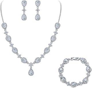 EleQueen Women's Silver-Tone Cubic Zirconia Teardrop Flower Bridal V-Necklace Set Tennis Bracelet Dangle Earrings