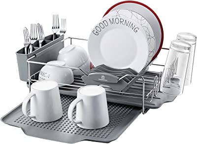 KINGRACK Dish Racks,Stainless Steel Dish Drying Rack with Expandable Over Sink Dish Rack,Utensil Holder,Drip Tray,Drain Board for Kitchen Counter,Grey