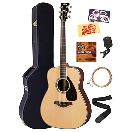 Yamaha FG830 Solid Top Folk Acoustic Guitar - Natural Bundle with Hard Case, Tuner,