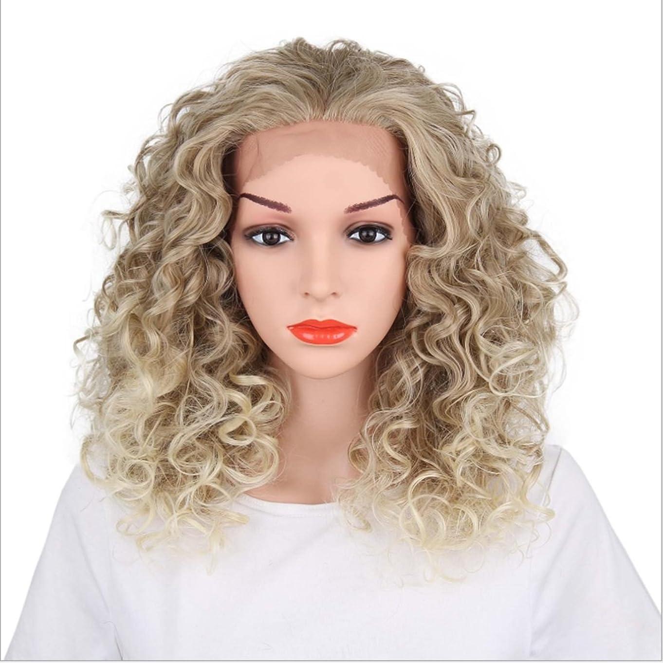 理想的には七時半マインドフルIsikawan 人間の髪の毛のアメリカとヨーロッパの女性の髪の毛のかつら波状のレースの髪飾りとして天然シルバーホワイト化学繊維ロングカーリーウィッグ350 g用レースフロントかつら (色 : Silver)