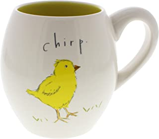 Rae Dunn by Magenta CHIRP Easter Chick Coffee Mug Yellow Interior
