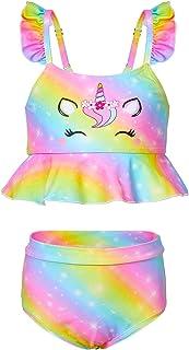 MHJY Girls Unicorn Swimsuit 2-Piece Swimwear Bikini Tankini Set Ruffle Beachwear Bathing Suit