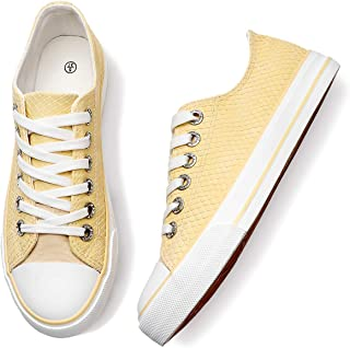 Adokoo Womens PU Leather Sneakers Low Cut Fashion Shoes