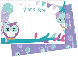 Owl Thank You Cards (25 Count) With Envelopes and Seal Stickers Bulk Birthday Party Bridal Blank Graduation Kids Children Boy Girl Baby Shower (25ct)