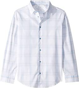 Open Windowpane Stretch Long Sleeve Shirt (Big Kids)