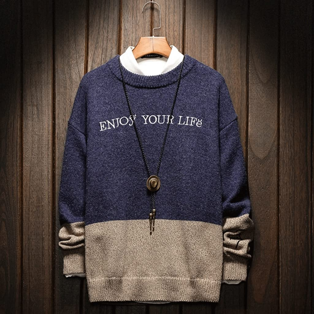 XJJZS Men'S Sweaters Spring Autumn Winter Clothes Pull OverSize M-4XL 5XL Korea Style Casual Standard Pullovers (Color : A, Size : Large)
